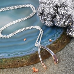 Silver Dipped in Rose Gold Wishbone Necklace