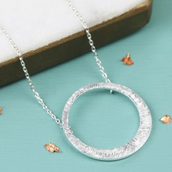 Etched Asymmetrical Hoop Pendant Necklace in Silver
