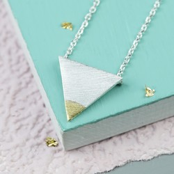 Silver Dipped in Gold Triangle Necklace