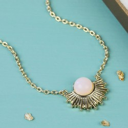 Gold and Rose Quartz Sun Pendant Necklace
