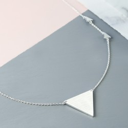 Large Brushed Silver Triangle Pendant Necklace