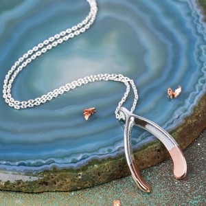 Large Silver Dipped in Rose Gold Wishbone Necklace