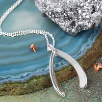 Large Silver Wishbone Necklace