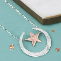 Mixed Metal Horn and Star Pendant Necklace