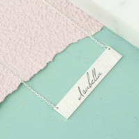 Personalised Flat Horizontal Bar Necklace in Silver