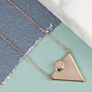 Rose Gold Triangle Necklace with Quartz Stone