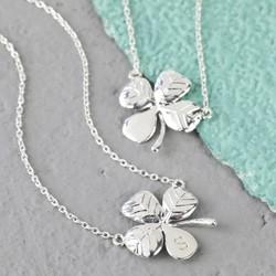Shiny Silver Lucky Clover Necklace