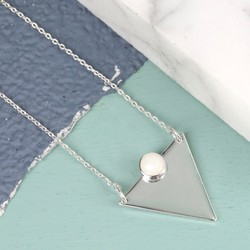 Silver Triangle Necklace with Crystal Stone