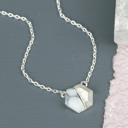 White Marble Hexagonal Pendant Necklace in Silver