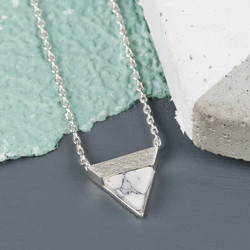 White Marble Triangle Pendant Necklace in Silver