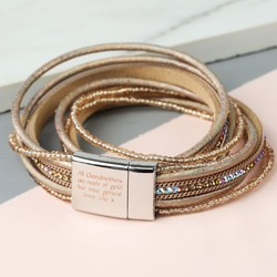 Personalised Beige Iridescent Beaded Wrap Bracelet