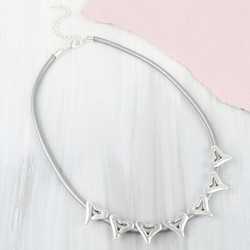 Silver Open Heart Grey Leather Necklace