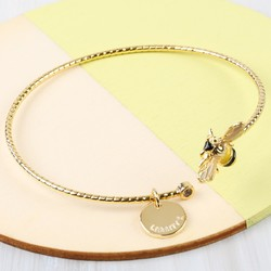 Personalised Bumblebee Open Bangle in Gold