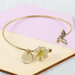 Personalised Daisy and Bee Open Bangle in Gold