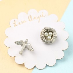 Nest and Swallow Stud Earrings in Silver