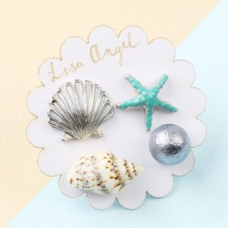 Set of Four Mismatched Nautical Beach Stud Earrings in Silver