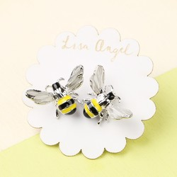 Silver and Enamel Bumblebee Stud Earrings