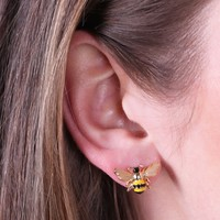 Gold and Enamel Bumblebee Stud Earrings