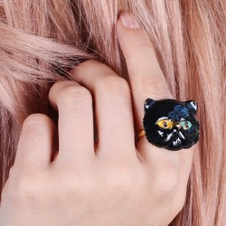 Large Black Enamel Cat Ring