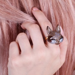 Large Brown Enamel Fox Ring