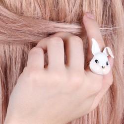 Large Ivory Enamel Bunny Ring