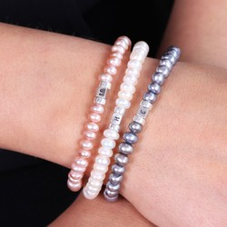 Handmade Personalised Button Pearl Bracelet