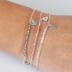 Handmade Sterling Silver and Swarovski Crystal Bead Bracelet