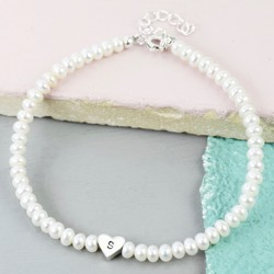 Handmade Pearl Bead and Heart Bracelet
