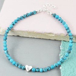 Handmade Turquoise Bead and Heart Bracelet