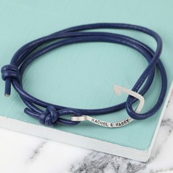 Men's Personalised Navy Leather Cord and Hook Bracelet