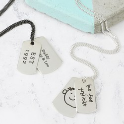 Personalised Engraved Sterling Silver Dog Tag Necklace