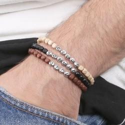 Men's Handmade Cube Bead Name Bracelet