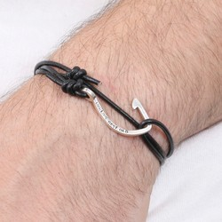 Men's Personalised Black Leather Cord and Hook Bracelet