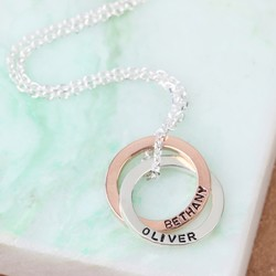 Personalised 9k Rose Gold and Sterling Silver Interlocking Circles Necklace