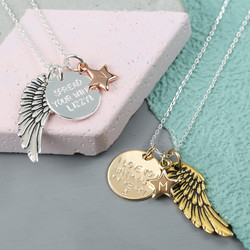 Personalised Angel Wing and Disc Charm Necklace
