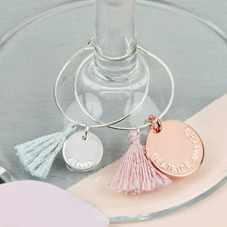 Set of Four Personalised Wine Glass Charms