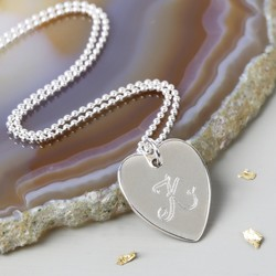 Personalised Heart Necklace with Engraved Initial