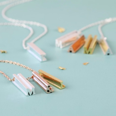Personalised Initial Shape Bar Necklace