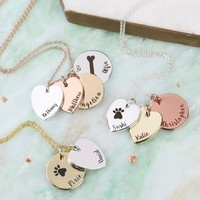 Personalised Mixed Metal Heart and Disc Charm 'Family' Necklace