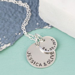 Personalised Sterling Silver Double Disc Charm Necklace