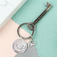 Personalised Sterling Silver Hoop Keyring with Initials