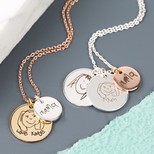 Personalised 'Your Drawing' Double Disc Charm Necklace