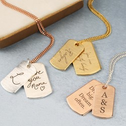 Personalised 'Your Handwriting' Dog Tag Necklace