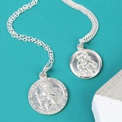 Sterling Silver St Christopher Pendant Necklace