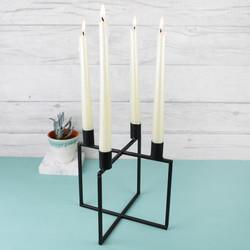 Black Metal Cube Candlestick Holder