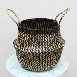 Black Striped Seagrass Basket