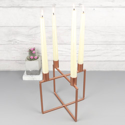 Copper Metal Cube Candle Holder