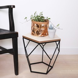 Geometric Wooden Side Table in Black