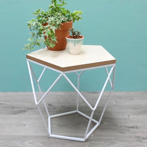 Geometric Wooden Side Table in White