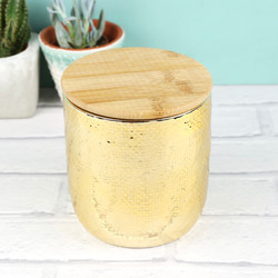 Gold Ceramic Jar with Wooden Lid
